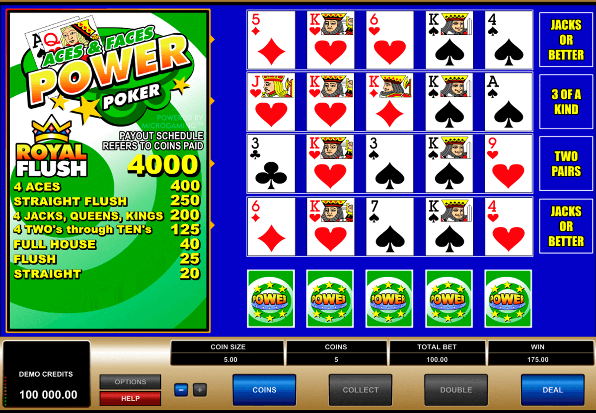 aces and faces 4 play power poker microgaming video poker