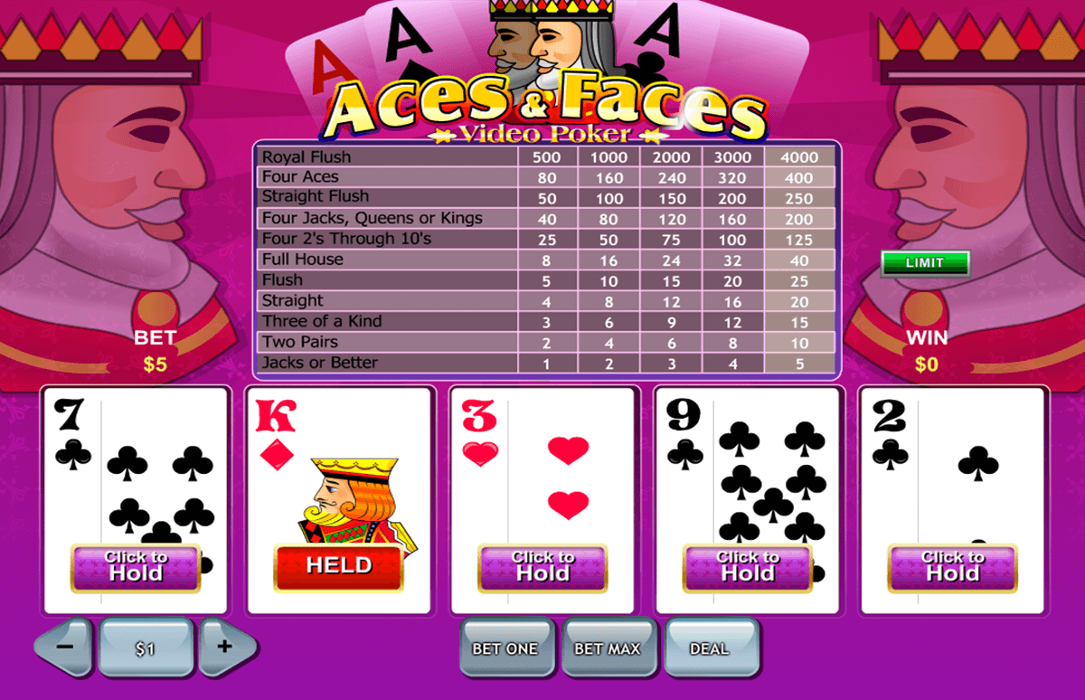 aces and faces playtech video poker