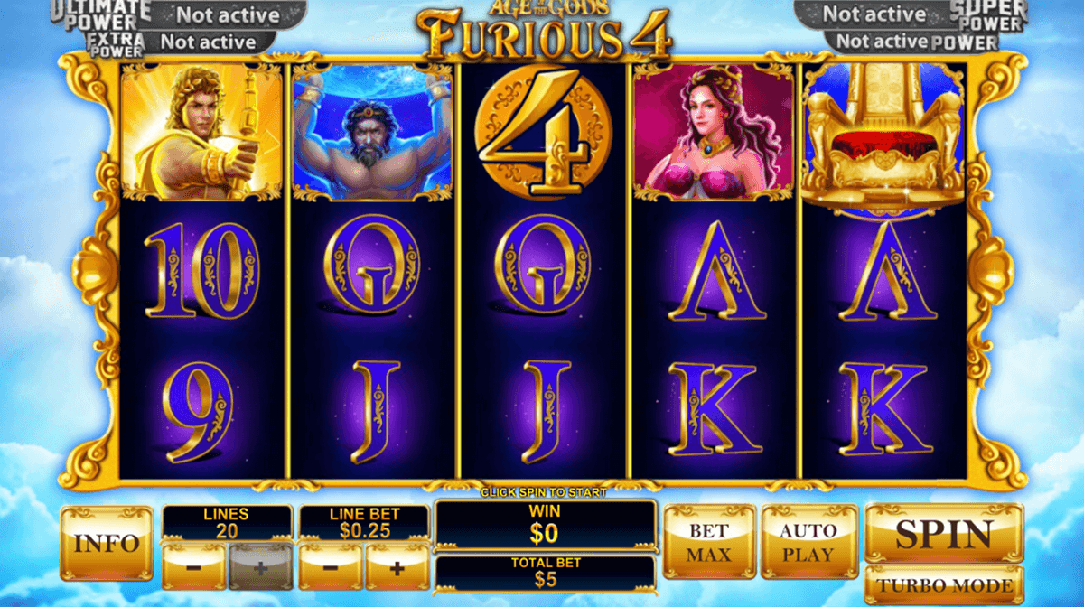 age of the gods furious 4 playtech pokie
