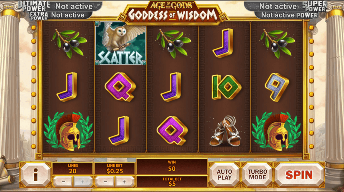 age of the gods goddess of wisdom playtech pokie