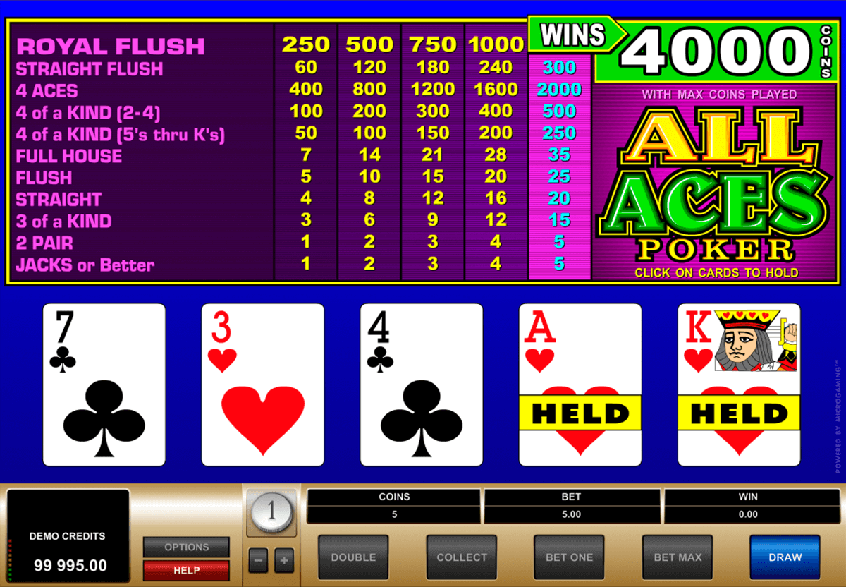 all aces poker microgaming video poker