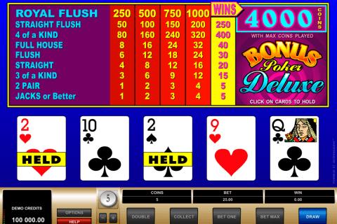 bonus poker delue microgaming video poker