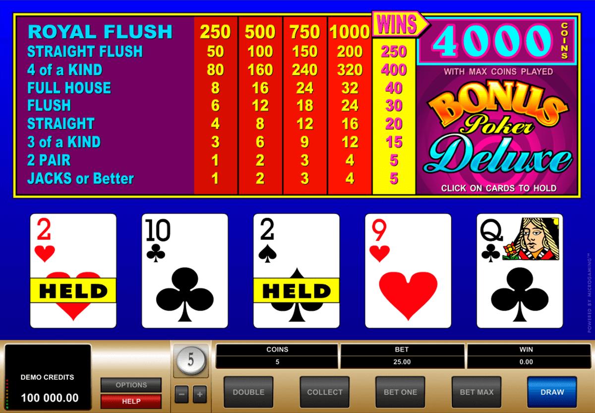 bonus poker deluxe microgaming video poker