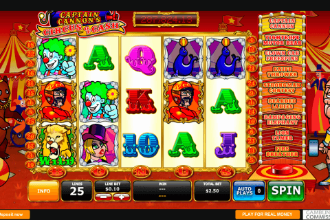 captains cannons circus of cash playtech pokie