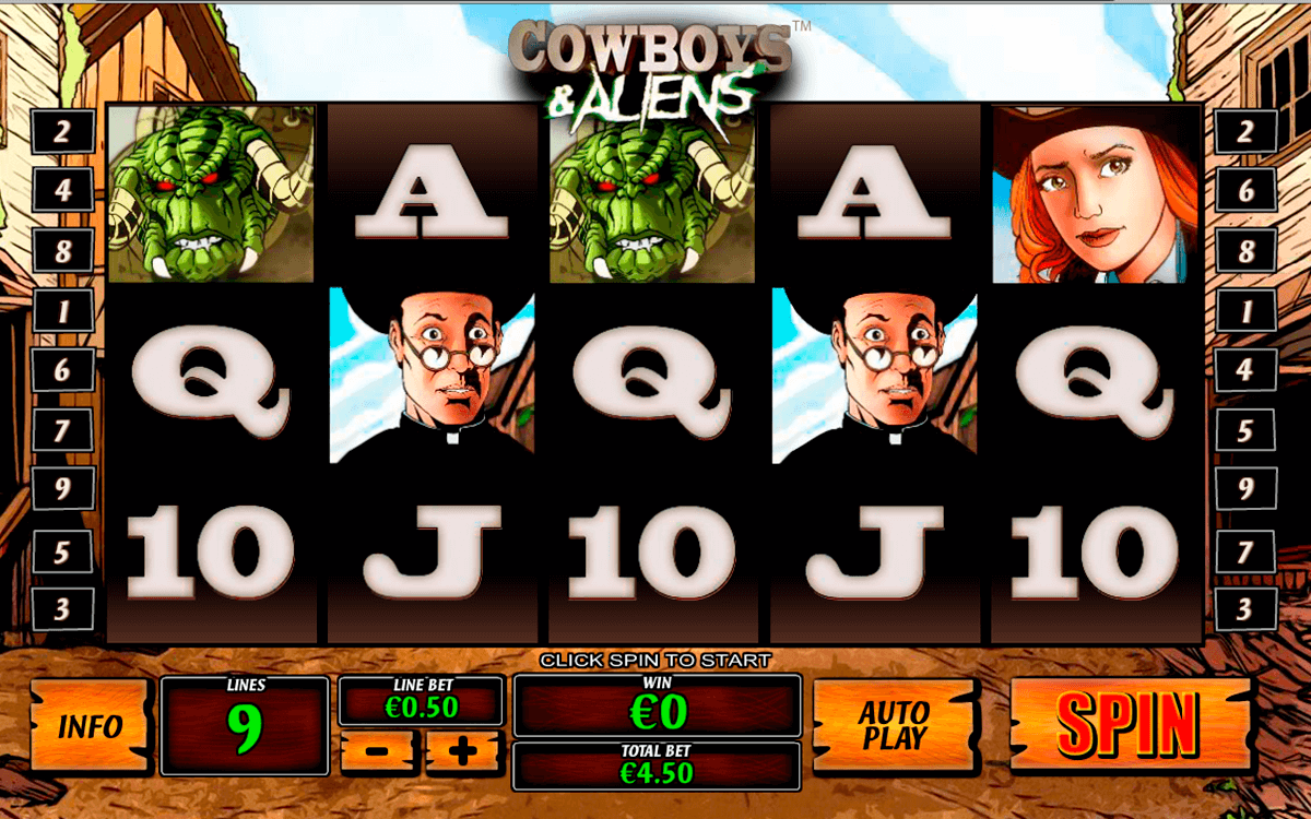 cowboys and aliens playtech pokie