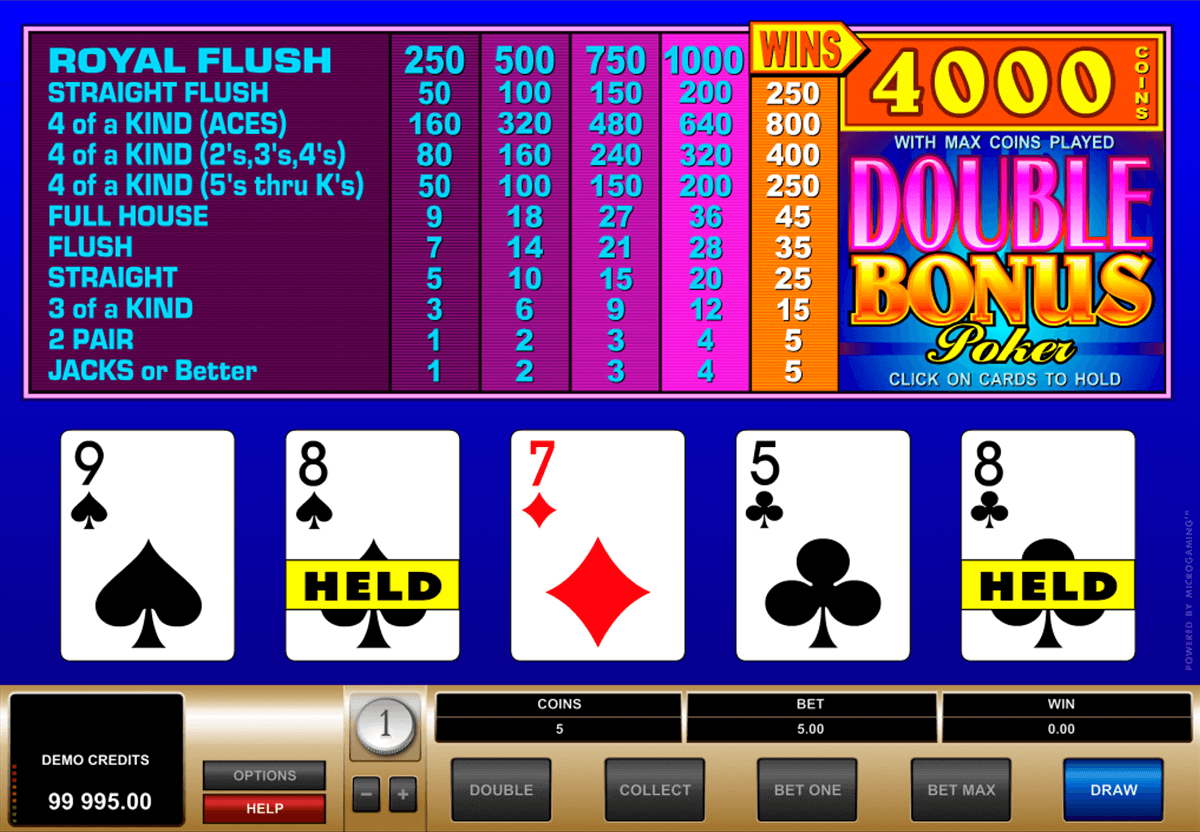 double bonus poker microgaming video poker