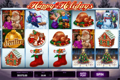 happy holidays microgaming pokie