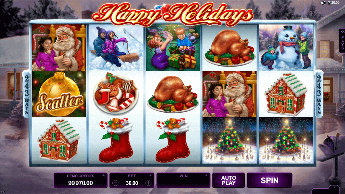 happy holidays microgaming pokie