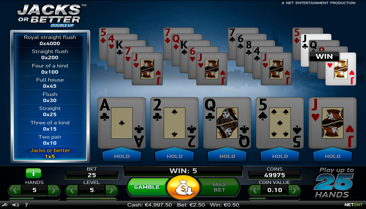 jacks or better netent video poker