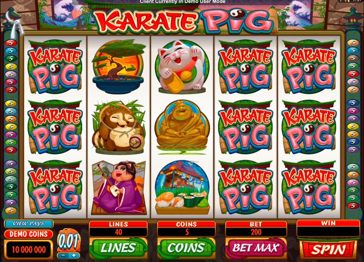 karate pig microgaming pokie