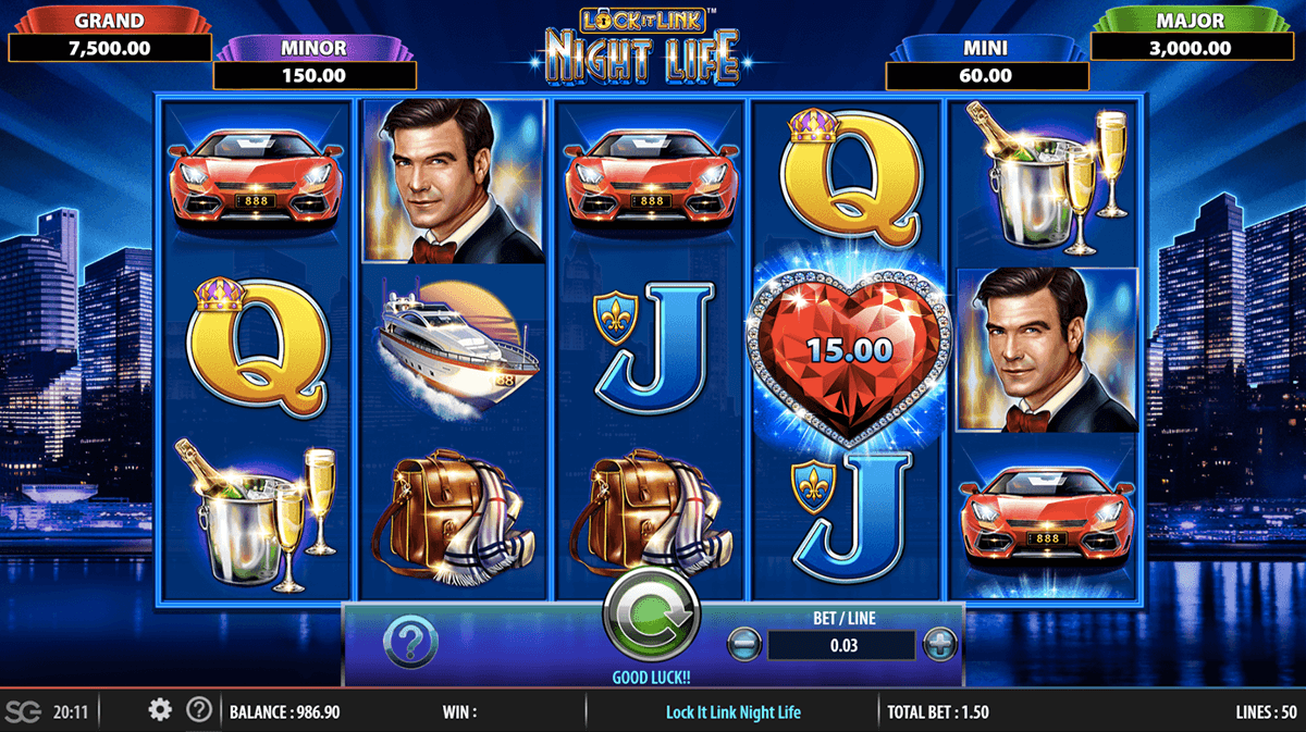 Lock It Link Nightlife Slot Machine 187 Play Free Wms Pokies