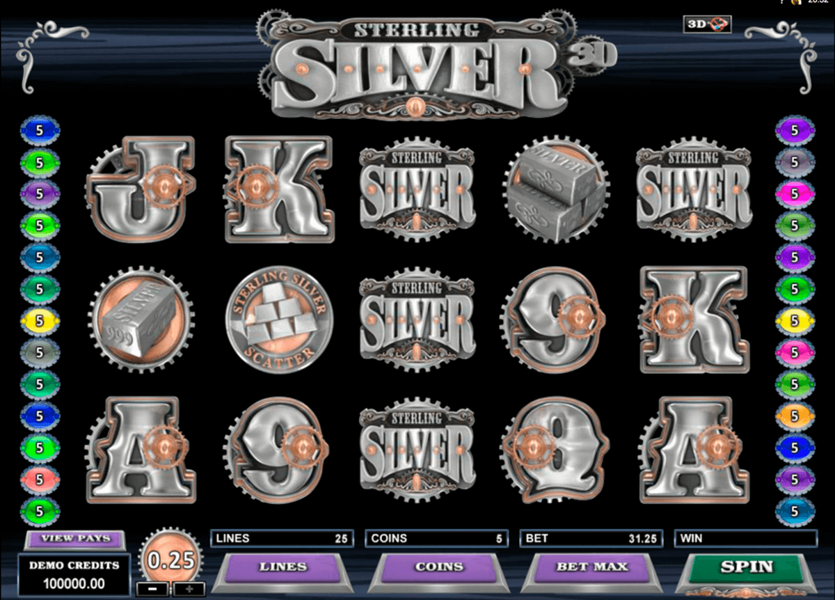 sterling silver 3d microgaming pokie