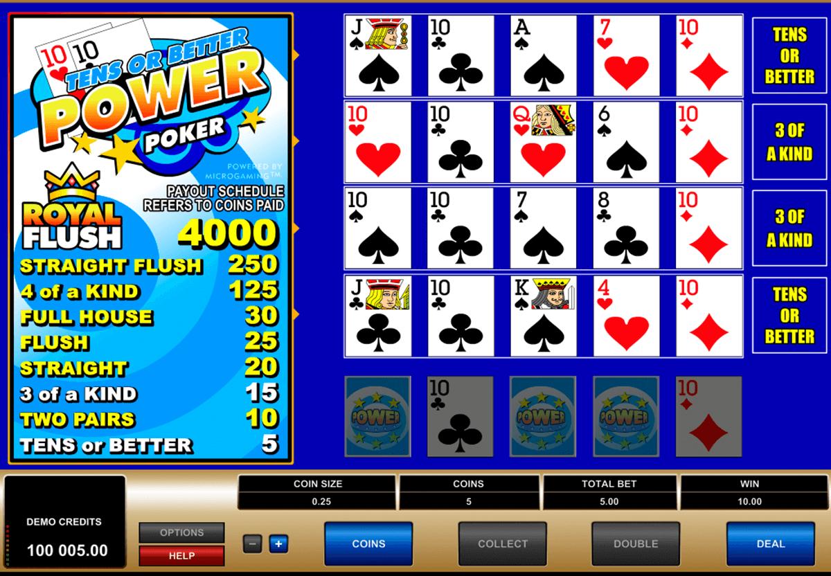 tens or better 4 play power poker microgaming video poker