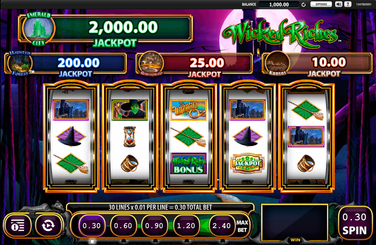 the wizard of oz wicked riches wms pokie