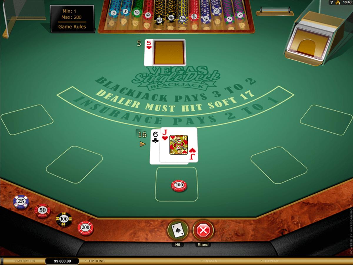 vegas single deck blackjack gold series microgaming