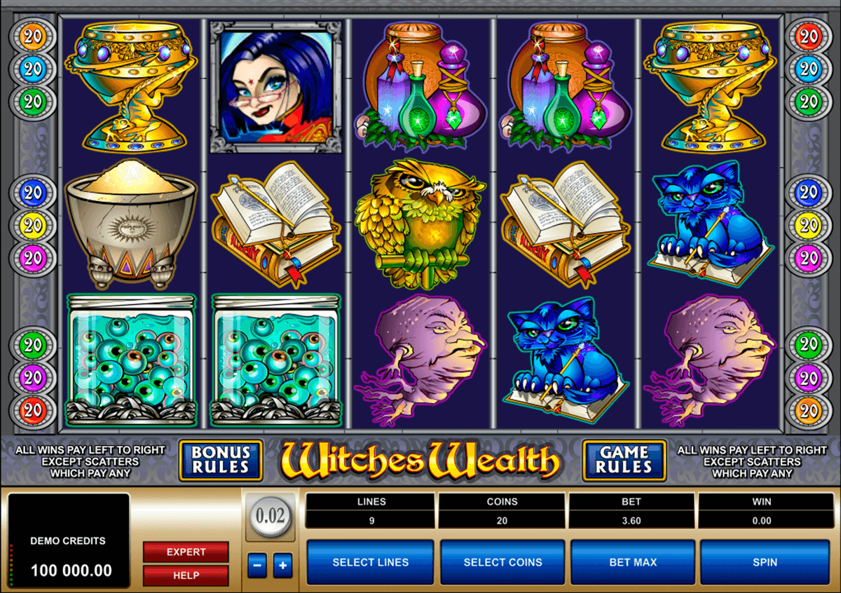 witches wealth microgaming pokie